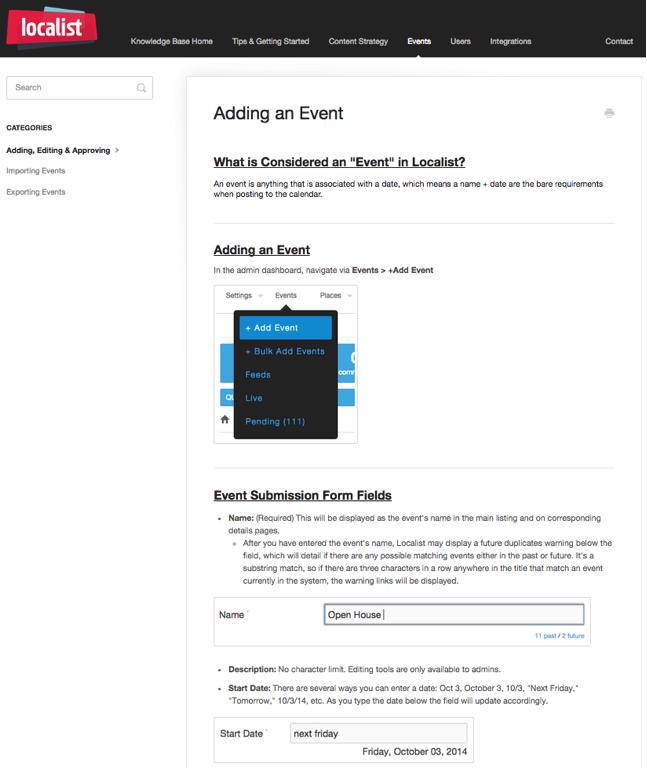 Localist Knowledge Base Adding an event